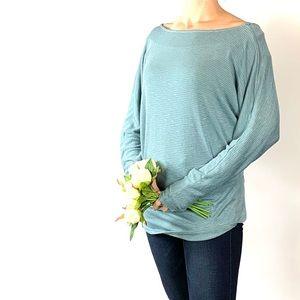 Caslon Light Blue Batwing Knit Top Large